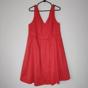 Fervour Plus Size Coral Red Fit And Flare Dress 1X